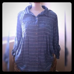 Denim look striped shirt- Size Large